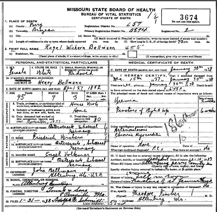 Engel Bellmann death certificate