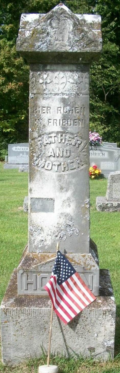 Ferdinand and Dorothea Hoehn gravestone Zion Longtown MO