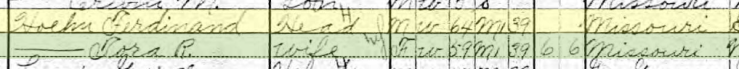 Ferdinand Hoehn 1910 census Union Township MO