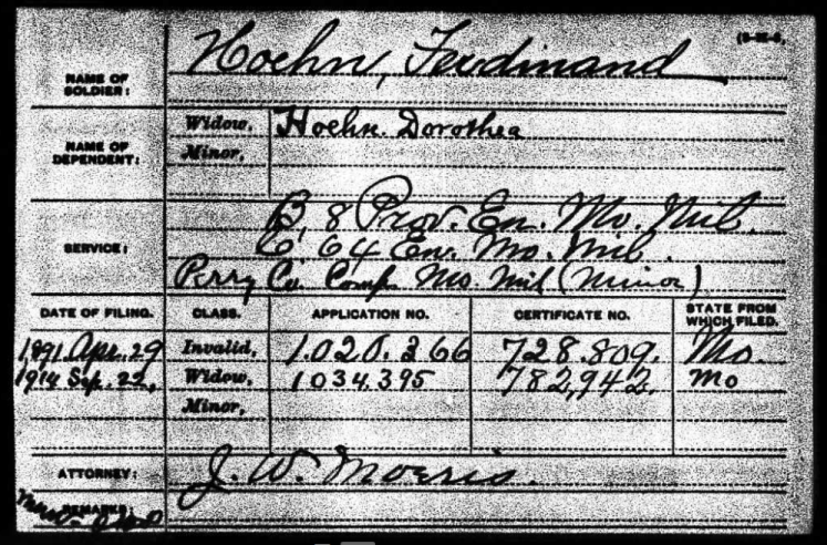 Ferdinand Hoehn Civil War pension form