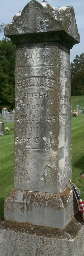 Ferdinand Hoehn gravestone Zion Longtown MO