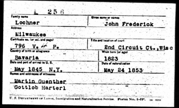 Friedrich Lochner naturalization record
