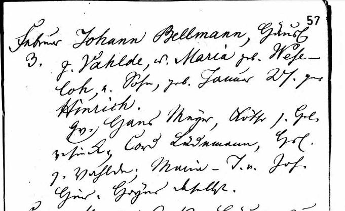 Heinrich Bellmann baptism record Scheessel Germany
