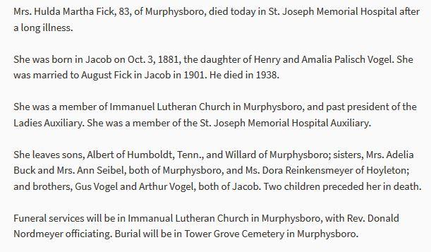 Hulda Fick obituary