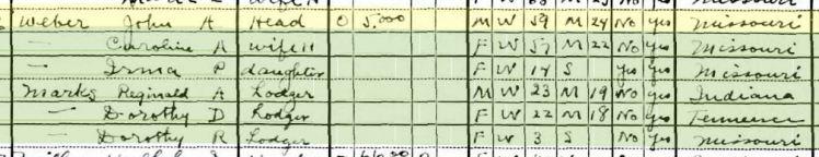 John Adolph Weber 1930 census St. Louis MO