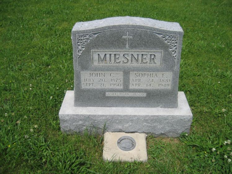 John and Sophia Miesner gravestone Immanuel Altenburg MO