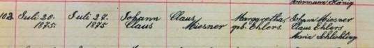 John Claus Miesner baptism record Salem Farrar MO