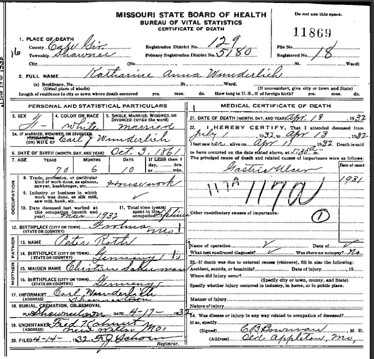 Katherine Wunderlich death certificate