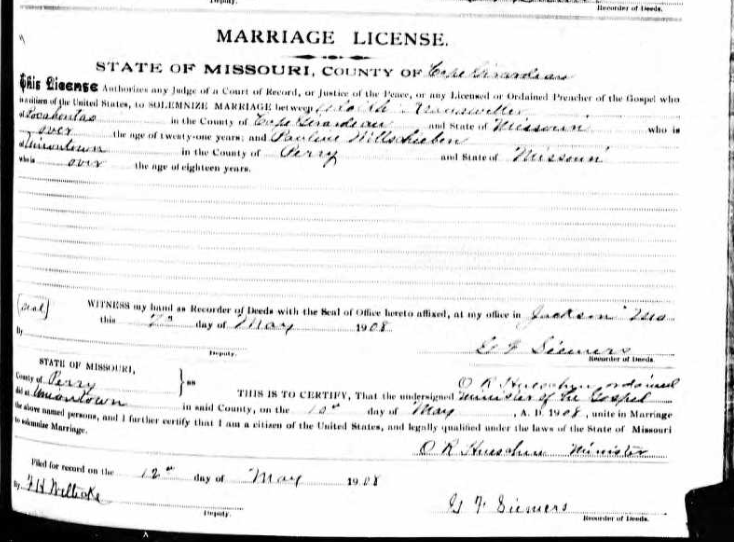 Kranawetter Wittschieben marriage license