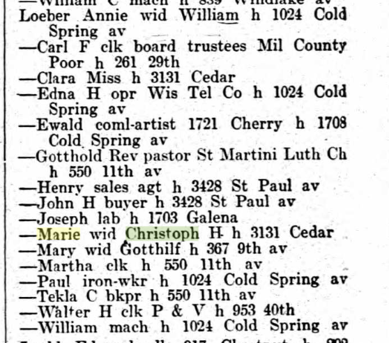 Loeber names 1915 Milwaukee city directory