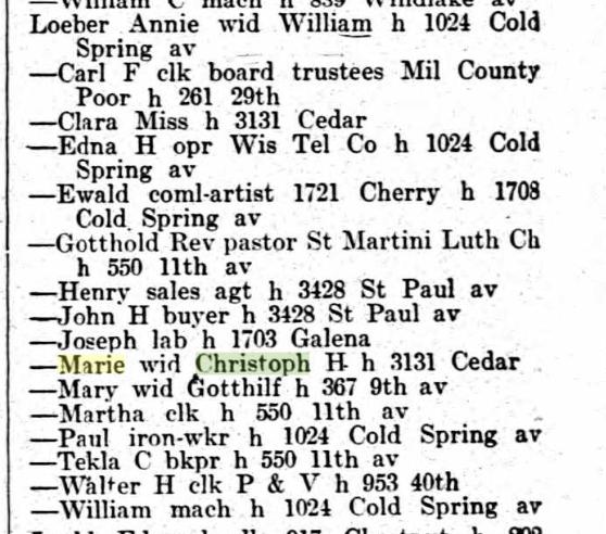 Loeber names 1915 Milwaukee city directory