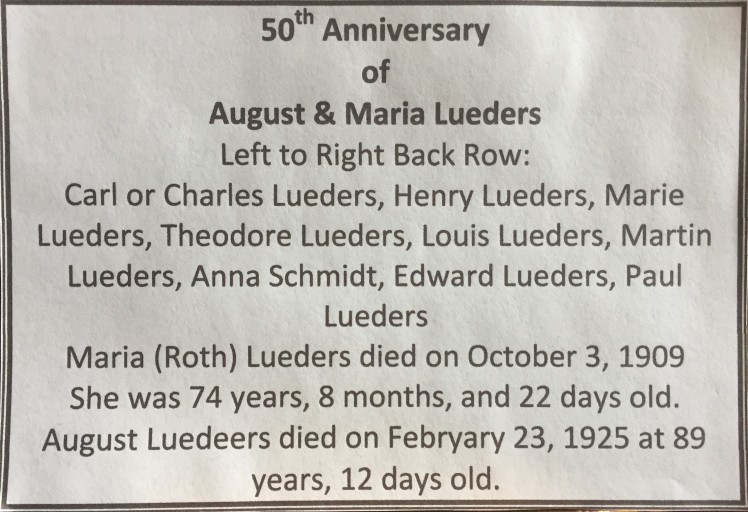 Lueders family 50th anniversary label