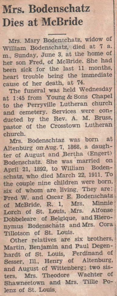 Maria Bodenschatz obituary