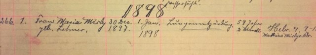 Maria Mirly death record Immanuel New Wells MO