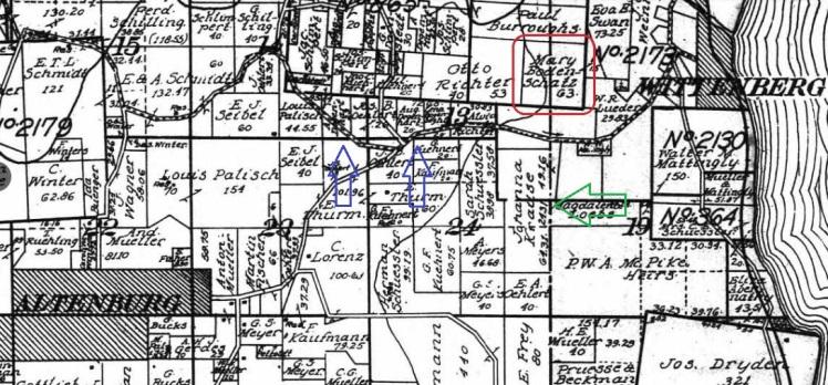 Mary Bodenschatz land map 1915