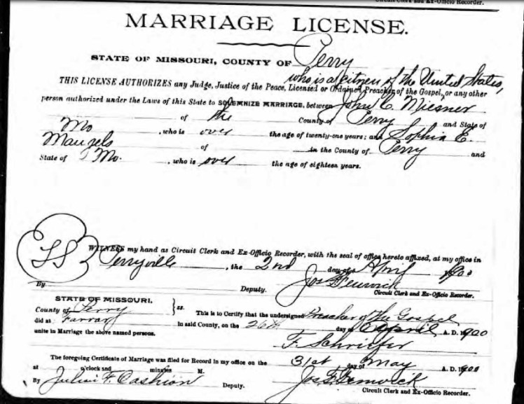 Miesner Mangels marriage license