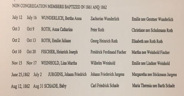 Non-congregation baptism records 1861-1862 Concordia Frohna MO