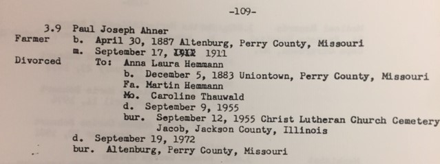 Paul Ahner information Ahner family binder