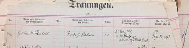 Rabold Palisch Thompson marriage record Immanuel Altenburg