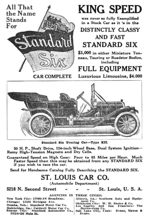 Standard Six advertisement St. Louis Car Co.