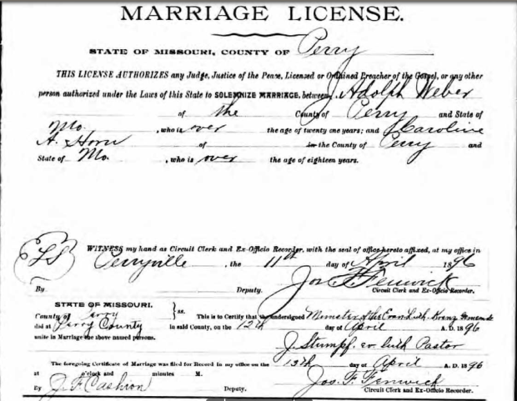 Weber Horn marriage license