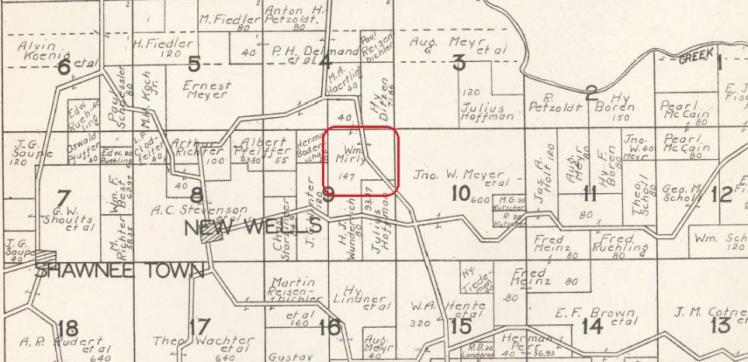 Wm Mirly land map 1930 Cape Girardeau County
