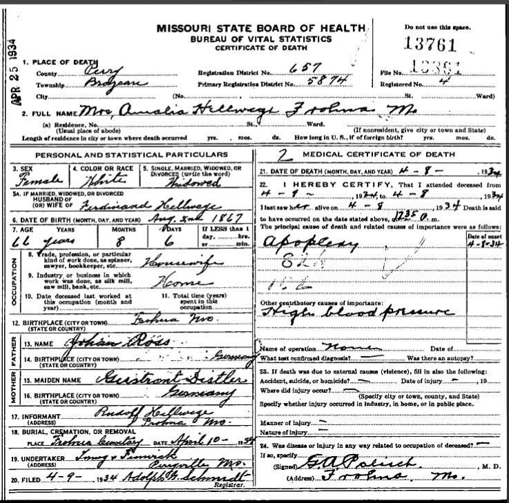 Amalia Hellwege death certificate