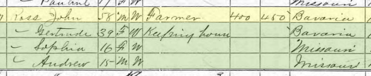 Amalia Ross 1870 census 2 Brazeau Township MO