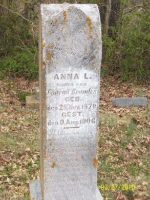 Anna L Brandes gravestone Grace Uniontown MO