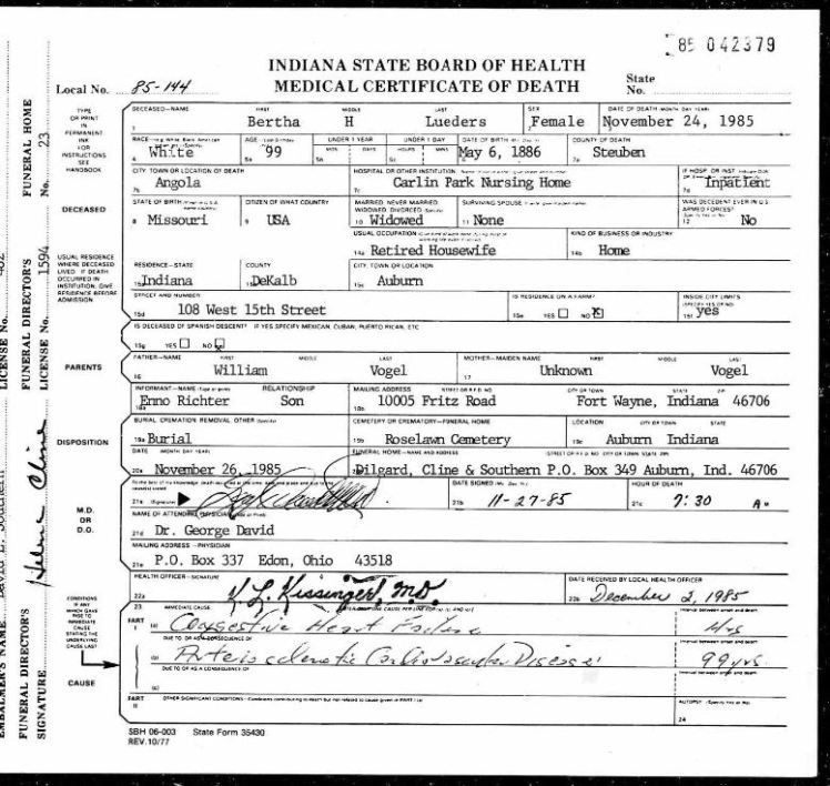 Bertha Lueders death certificate