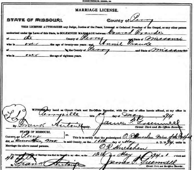 Brandes Franke marriage license