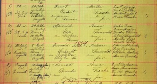 Brandes Franke marriage record Grace Uniontown MO