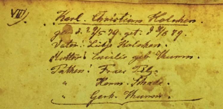 Carl Holschen baptism record Immanuel Altenburg MO