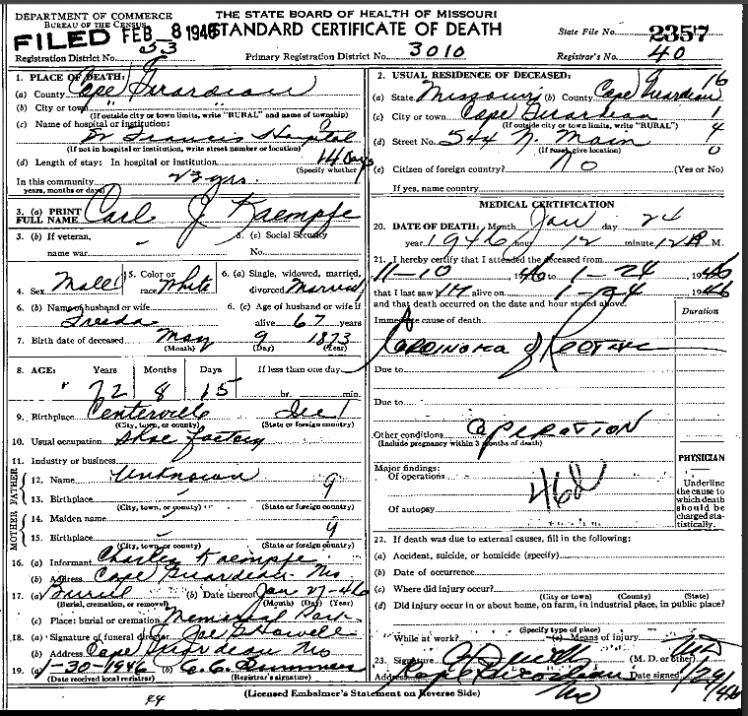 Carl Kaempfe death certificate