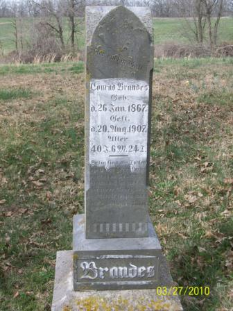 Conrad Brandes gravestone Grace Uniontown MO