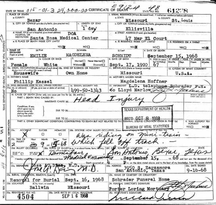 Emilie Kassel Schmidt death certificate TX