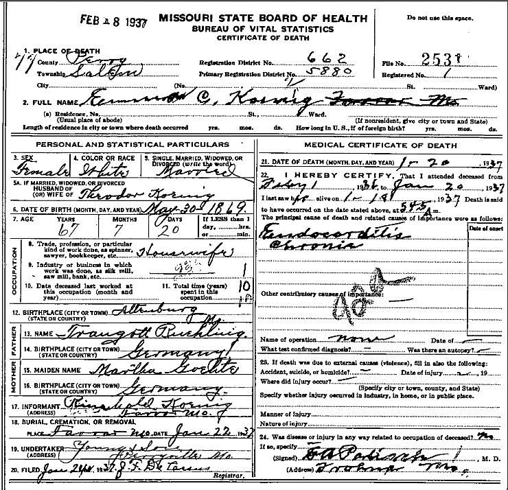 Emma Koenig death certificate