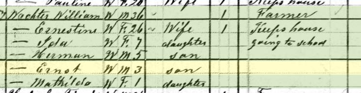 Ernst Wachter 1880 census Brazeau Township MO