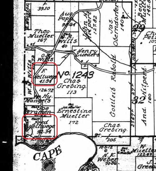 Ferd Hellwege land map 1915