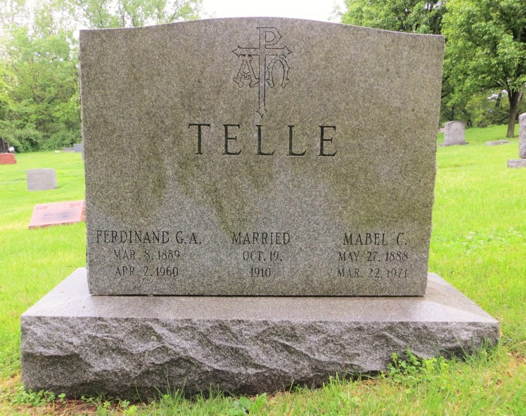 Ferdinand and Mabel Telle gravestone St. Peter Kirkwood MO