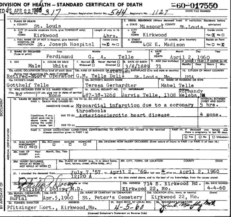 Ferdinand Telle Sr. death certificate