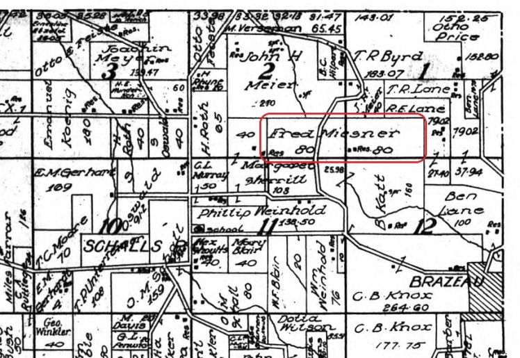 Fred Miesner land map 1915