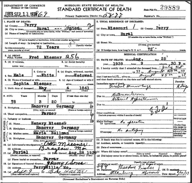 Frederick Miesner death certificate