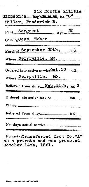 Frederick Mueller Service Record