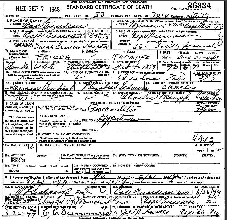 Frieda Kaempfe death certificate