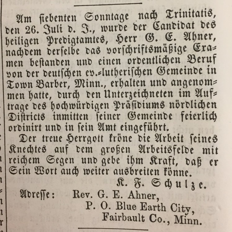 G.E. Ahner ordination notice Der Lutheraner