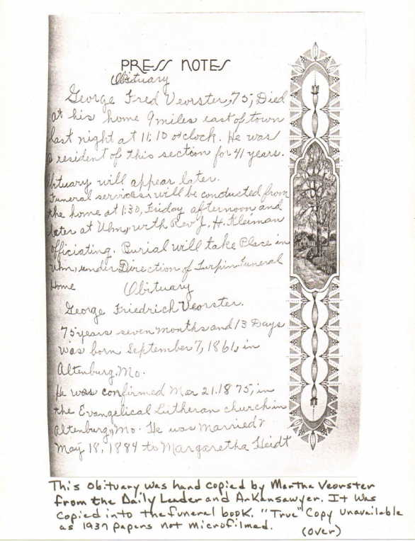 George Voerster handwritten obiturary 2