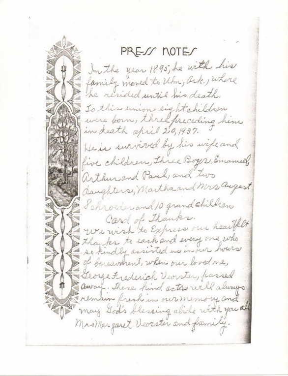 George Voerster handwritten obiturary