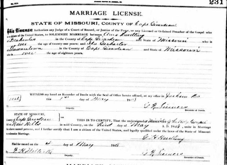 Haertling Gerharter marriage license