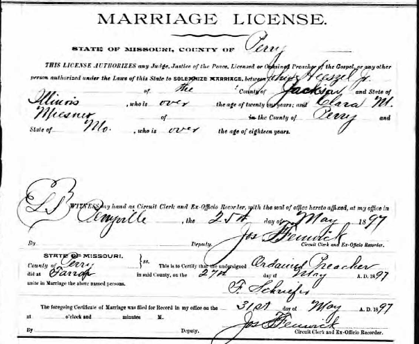 Heeszel Miesner marriage license
